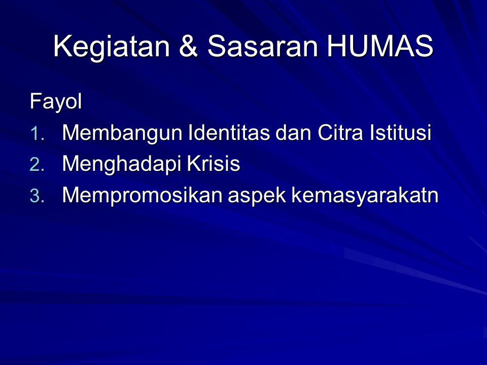 Kegiatan & Sasaran HUMAS Fayol 1. Membangun Identitas dan Citra Istitusi 2. Menghadapi Krisis 3. Mempromosikan aspek kemasyarakatn