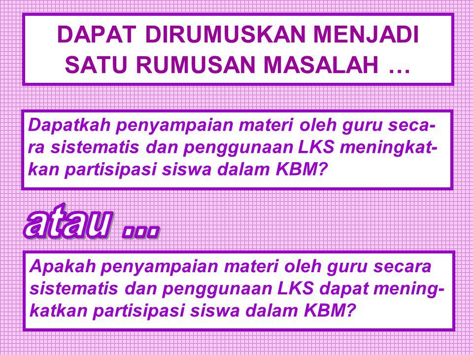 1.Bagaimana cara meningkatkan partisipasi siswa dalam KBM.