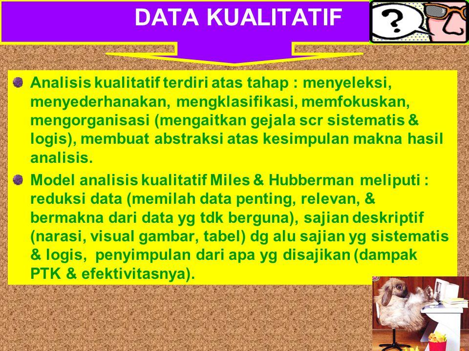 Tujuan Analisis dlm PTK Untuk memperoleh bukti kepastian apakah terjadi perbaikan, peningkatan, dan atau perubahan sebagaimana yg diharapkan, bukan untuk generalisasi atau pengujian teori TEKNIK ANALISIS DATA