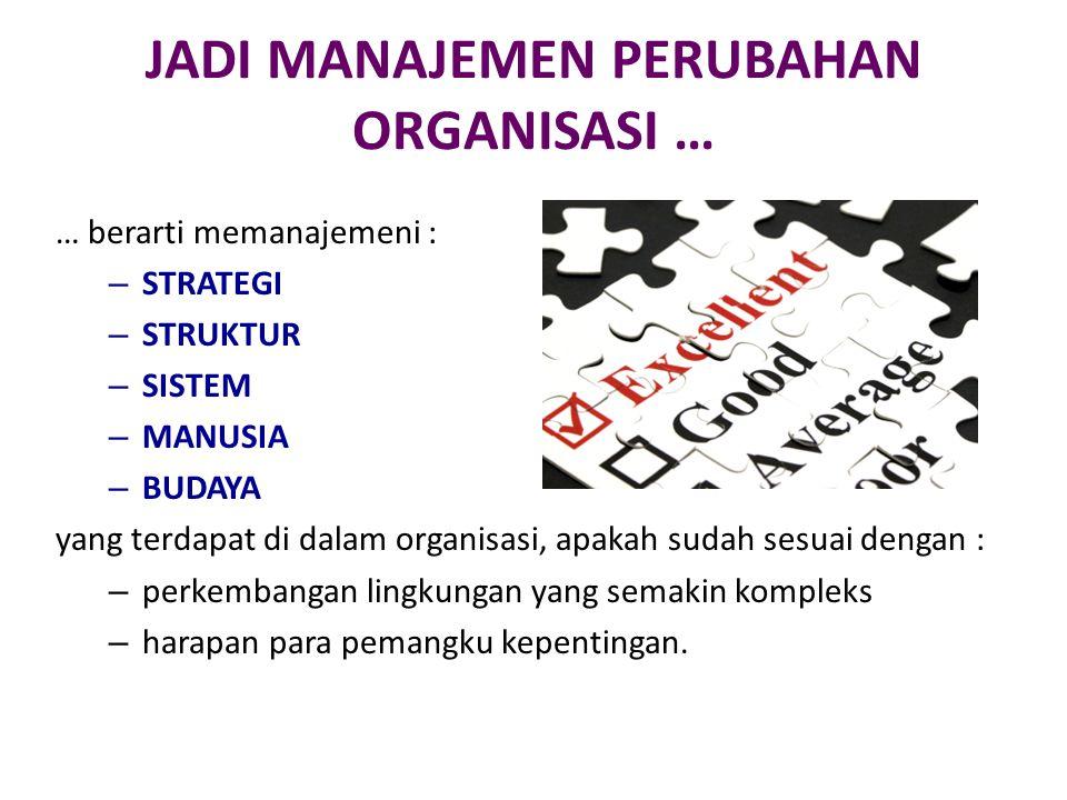 JADI MANAJEMEN PERUBAHAN ORGANISASI … … berarti memanajemeni : – STRATEGI – STRUKTUR – SISTEM – MANUSIA – BUDAYA yang terdapat di dalam organisasi, ap