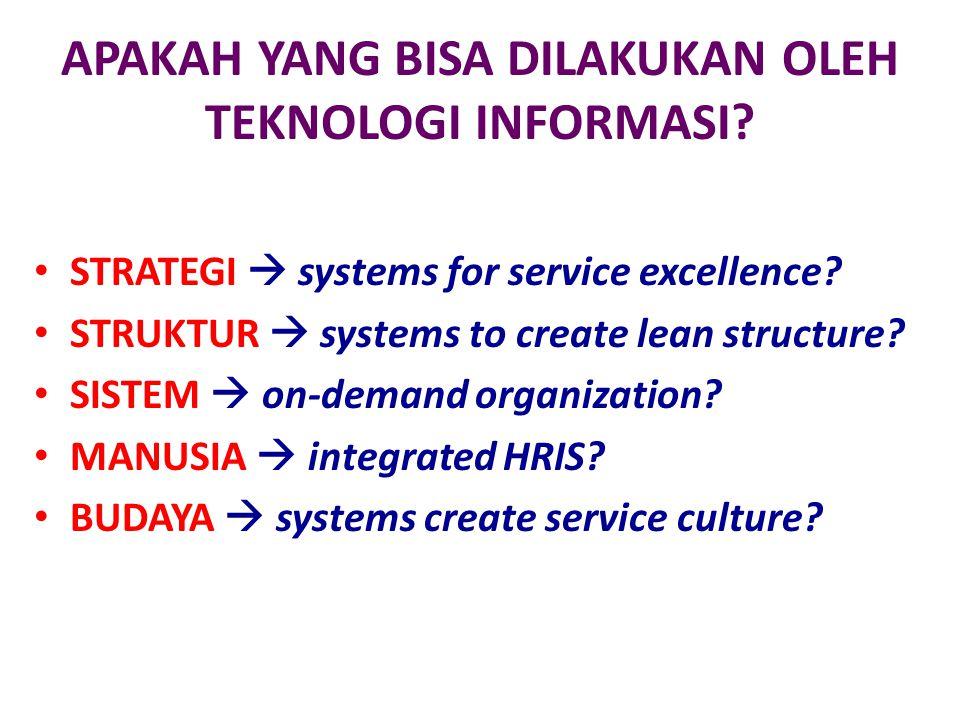 APAKAH YANG BISA DILAKUKAN OLEH TEKNOLOGI INFORMASI? STRATEGI  systems for service excellence? STRUKTUR  systems to create lean structure? SISTEM 