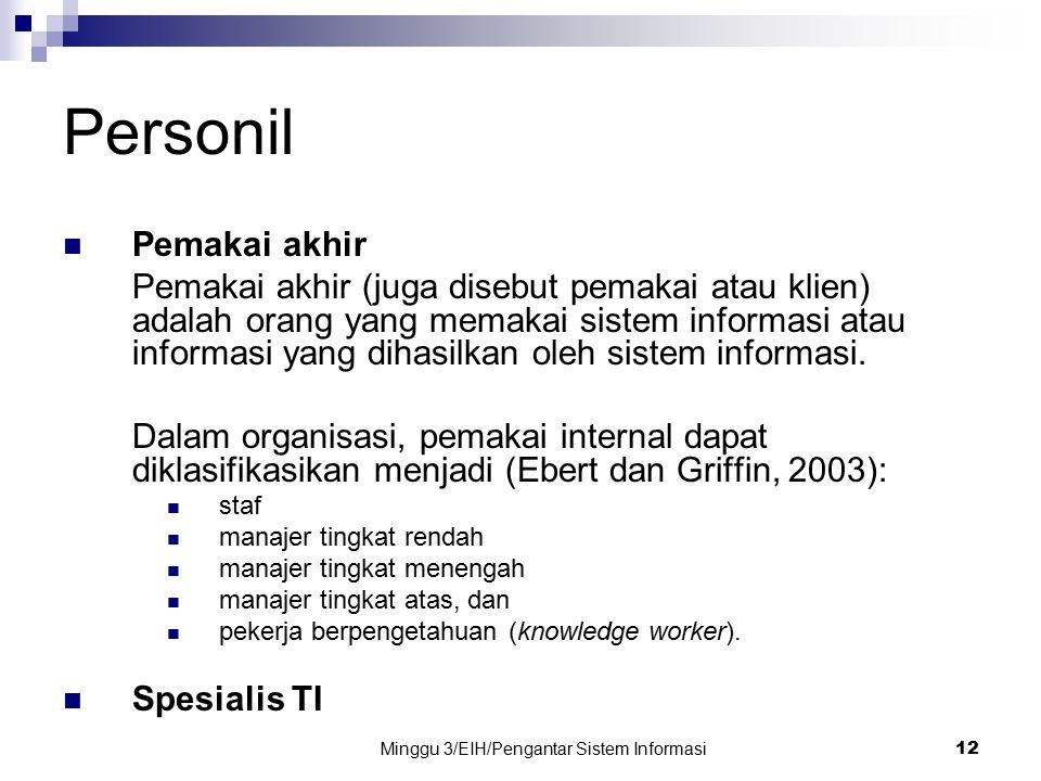 Minggu 3/EIH/Pengantar Sistem Informasi 12 Personil Pemakai akhir Pemakai akhir (juga disebut pemakai atau klien) adalah orang yang memakai sistem inf