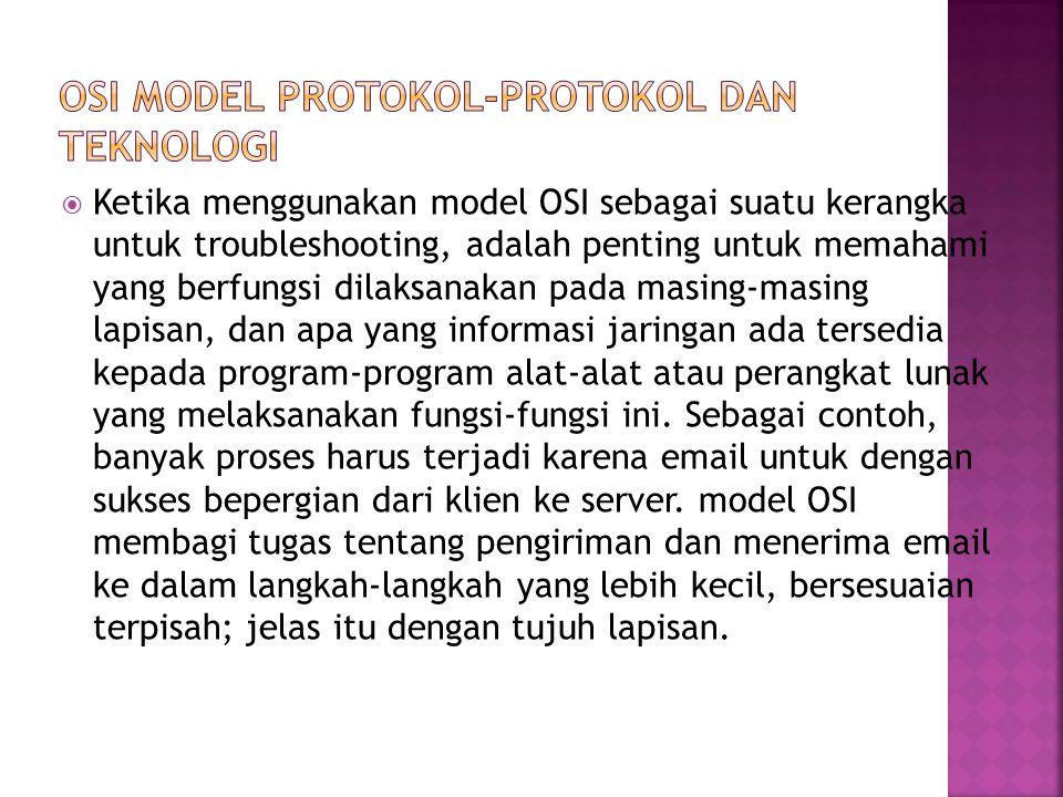  Ketika menggunakan model OSI sebagai suatu kerangka untuk troubleshooting, adalah penting untuk memahami yang berfungsi dilaksanakan pada masing-masing lapisan, dan apa yang informasi jaringan ada tersedia kepada program-program alat-alat atau perangkat lunak yang melaksanakan fungsi-fungsi ini.