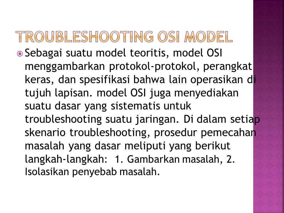  Sebagai suatu model teoritis, model OSI menggambarkan protokol-protokol, perangkat keras, dan spesifikasi bahwa lain operasikan di tujuh lapisan.