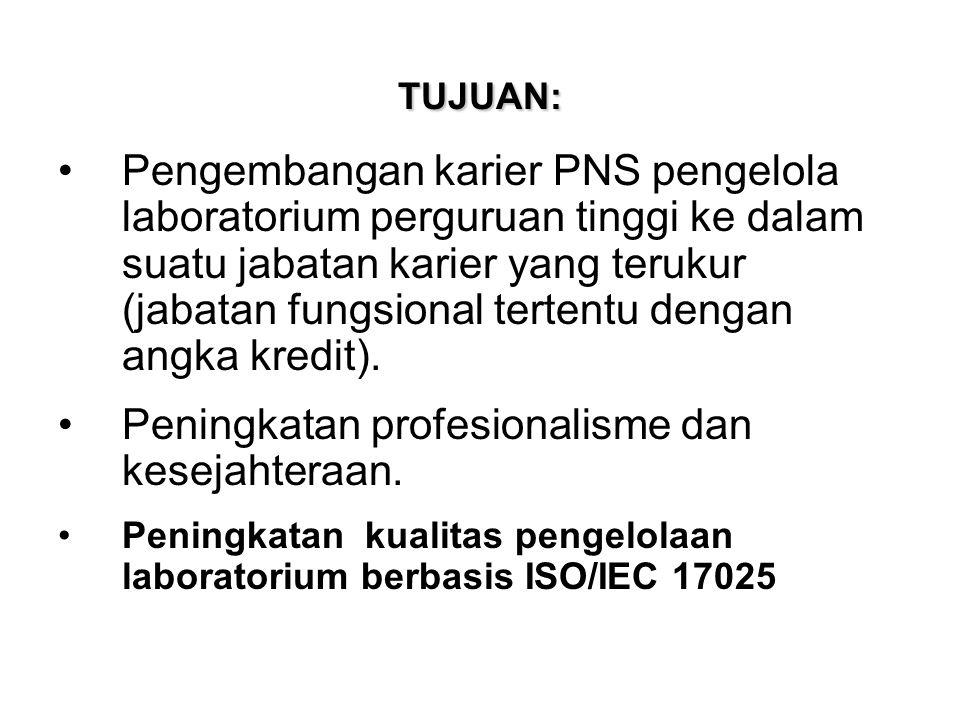 TUJUAN: Pengembangan karier PNS pengelola laboratorium perguruan tinggi ke dalam suatu jabatan karier yang terukur (jabatan fungsional tertentu dengan angka kredit).