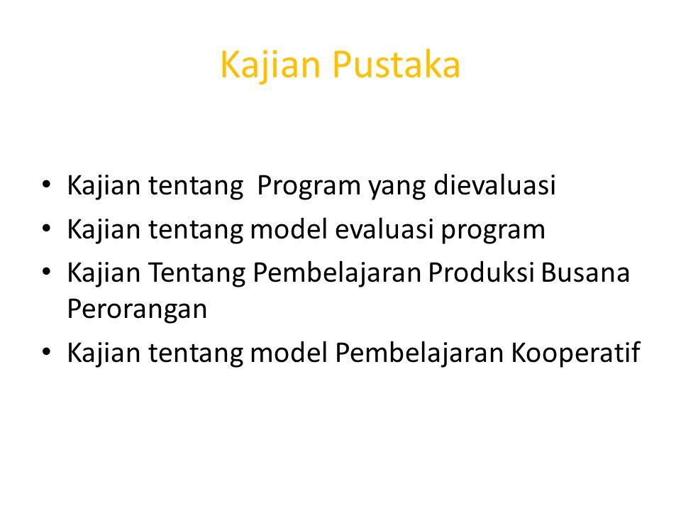 Metode penelitian Pendekatan Penelitian: Evaluasi Model CIPP Input,context,process,product Tempat penelitian :Prodi Busana dan Butik BUNY Subyek Penelitian :Dosen,mahasiswa,teknisi T.