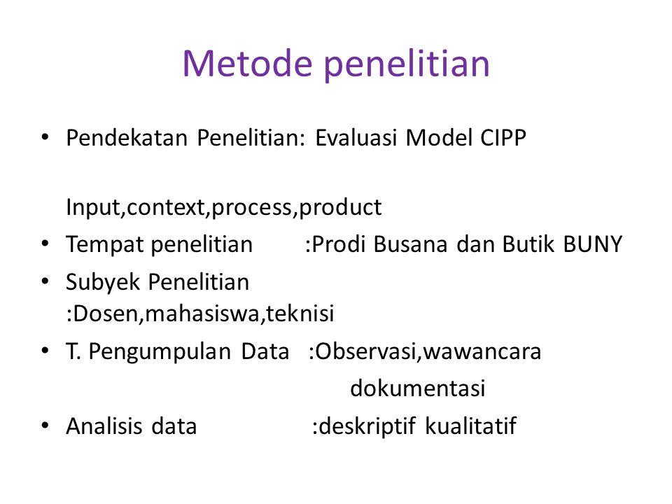 Metode penelitian Pendekatan Penelitian: Evaluasi Model CIPP Input,context,process,product Tempat penelitian :Prodi Busana dan Butik BUNY Subyek Penel