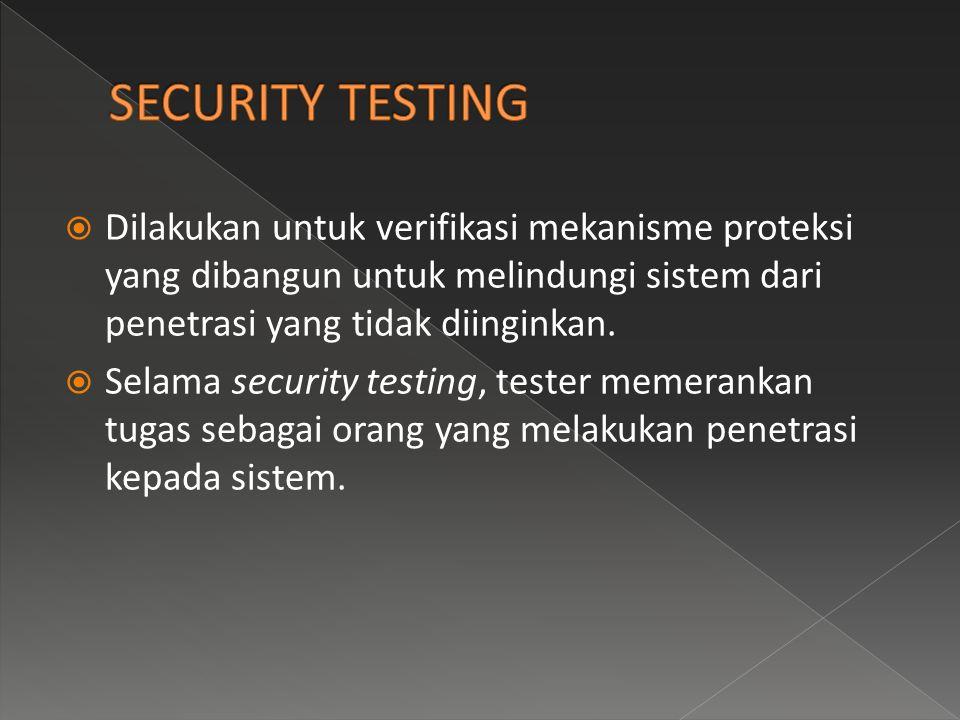  Dilakukan untuk verifikasi mekanisme proteksi yang dibangun untuk melindungi sistem dari penetrasi yang tidak diinginkan.  Selama security testing,