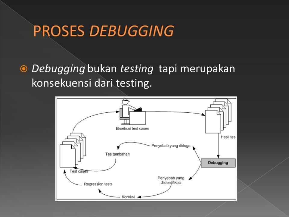  Debugging bukan testing tapi merupakan konsekuensi dari testing.