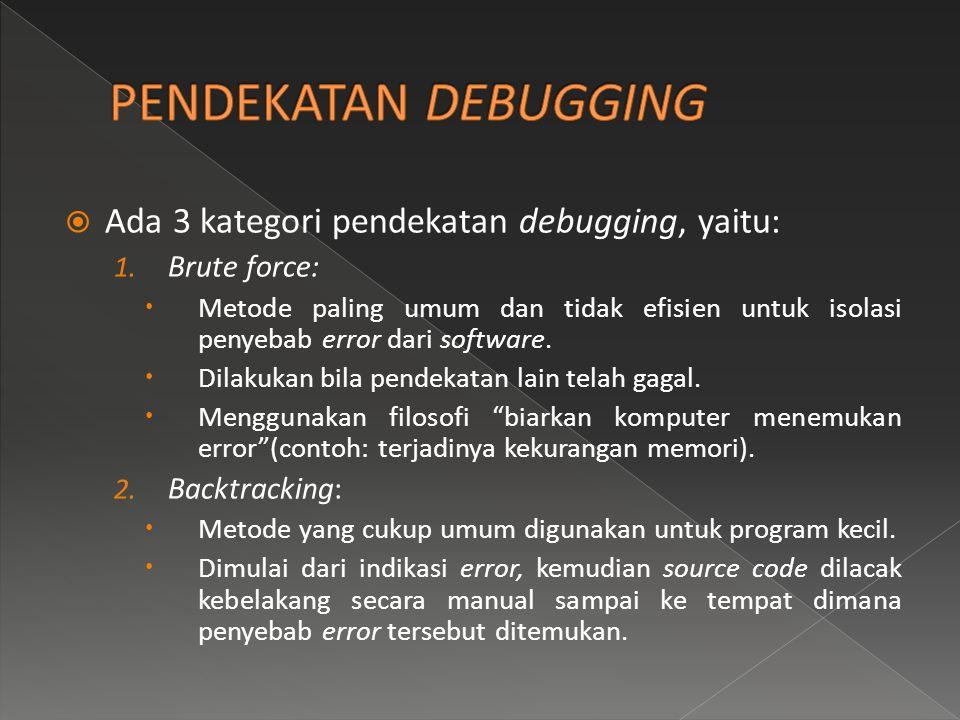  Ada 3 kategori pendekatan debugging, yaitu: 1. Brute force:  Metode paling umum dan tidak efisien untuk isolasi penyebab error dari software.  Dil