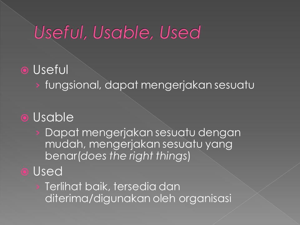  Useful › fungsional, dapat mengerjakan sesuatu  Usable › Dapat mengerjakan sesuatu dengan mudah, mengerjakan sesuatu yang benar(does the right thin