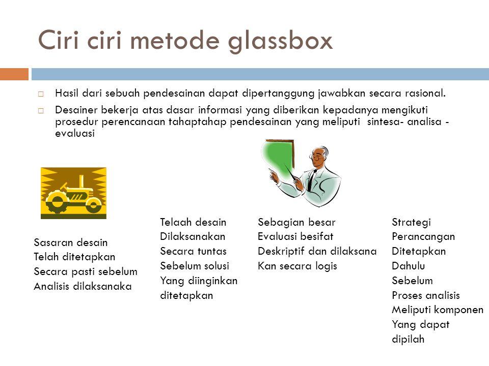 Ciri ciri metode glassbox  Hasil dari sebuah pendesainan dapat dipertanggung jawabkan secara rasional.  Desainer bekerja atas dasar informasi yang d