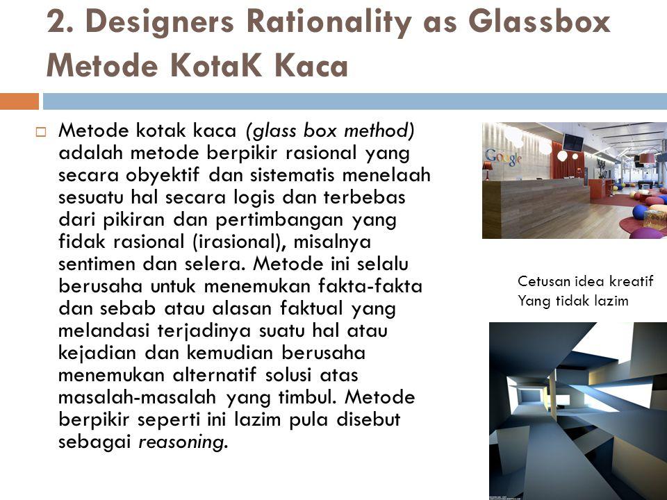 2. Designers Rationality as Glassbox Metode KotaK Kaca  Metode kotak kaca (glass box method) adalah metode berpikir rasional yang secara obyektif dan