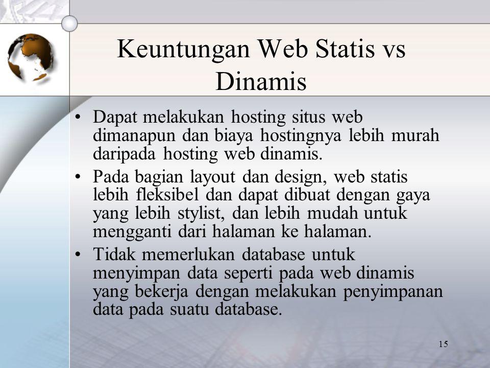 15 Keuntungan Web Statis vs Dinamis Dapat melakukan hosting situs web dimanapun dan biaya hostingnya lebih murah daripada hosting web dinamis. Pada ba