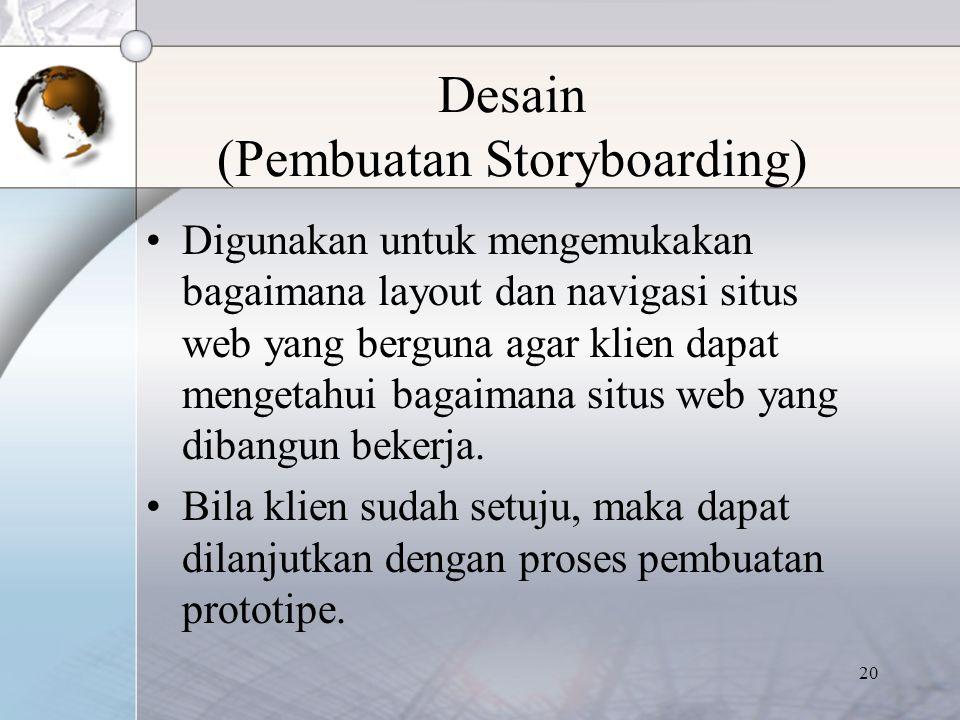 20 Desain (Pembuatan Storyboarding) Digunakan untuk mengemukakan bagaimana layout dan navigasi situs web yang berguna agar klien dapat mengetahui baga