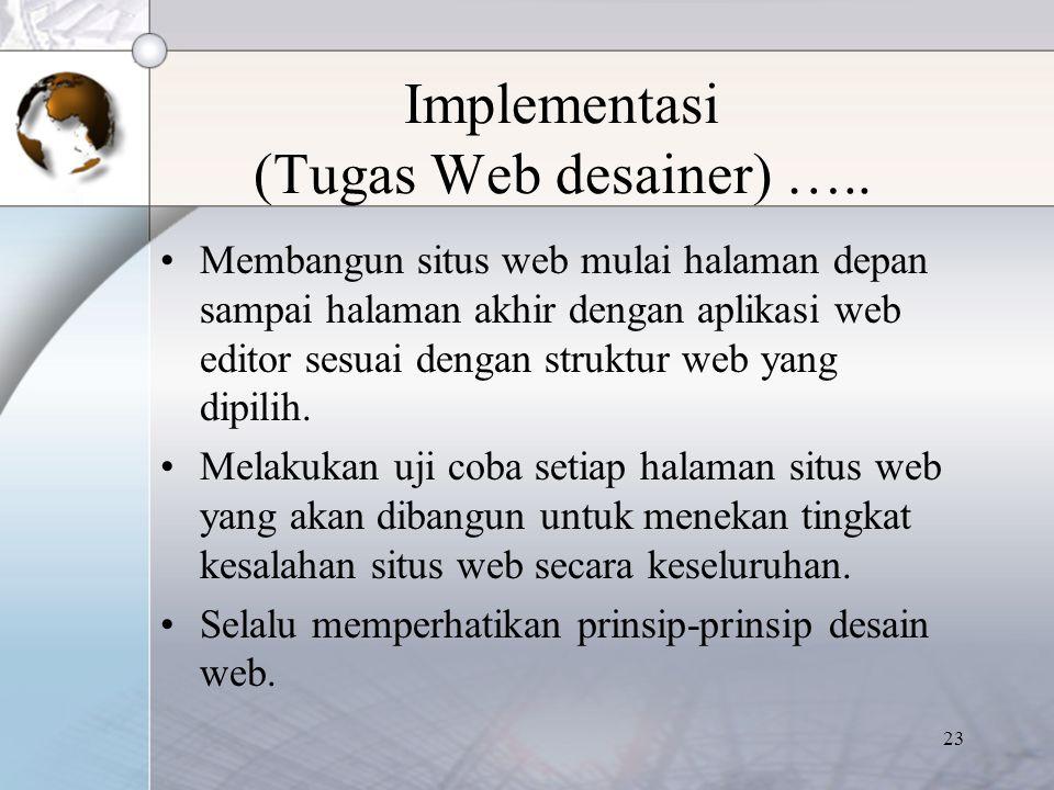 23 Implementasi (Tugas Web desainer) ….. Membangun situs web mulai halaman depan sampai halaman akhir dengan aplikasi web editor sesuai dengan struktu