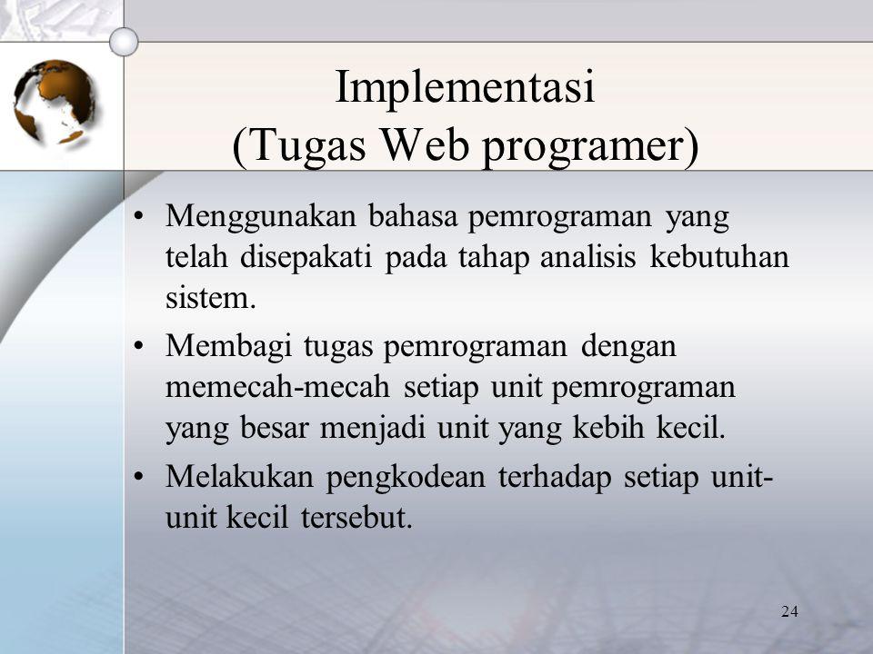 24 Implementasi (Tugas Web programer) Menggunakan bahasa pemrograman yang telah disepakati pada tahap analisis kebutuhan sistem. Membagi tugas pemrogr