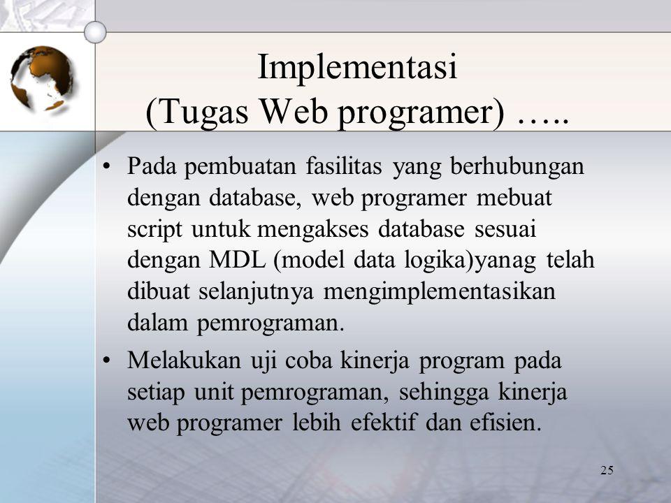 25 Implementasi (Tugas Web programer) ….. Pada pembuatan fasilitas yang berhubungan dengan database, web programer mebuat script untuk mengakses datab