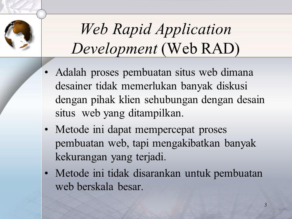 3 Web Rapid Application Development (Web RAD) Adalah proses pembuatan situs web dimana desainer tidak memerlukan banyak diskusi dengan pihak klien seh