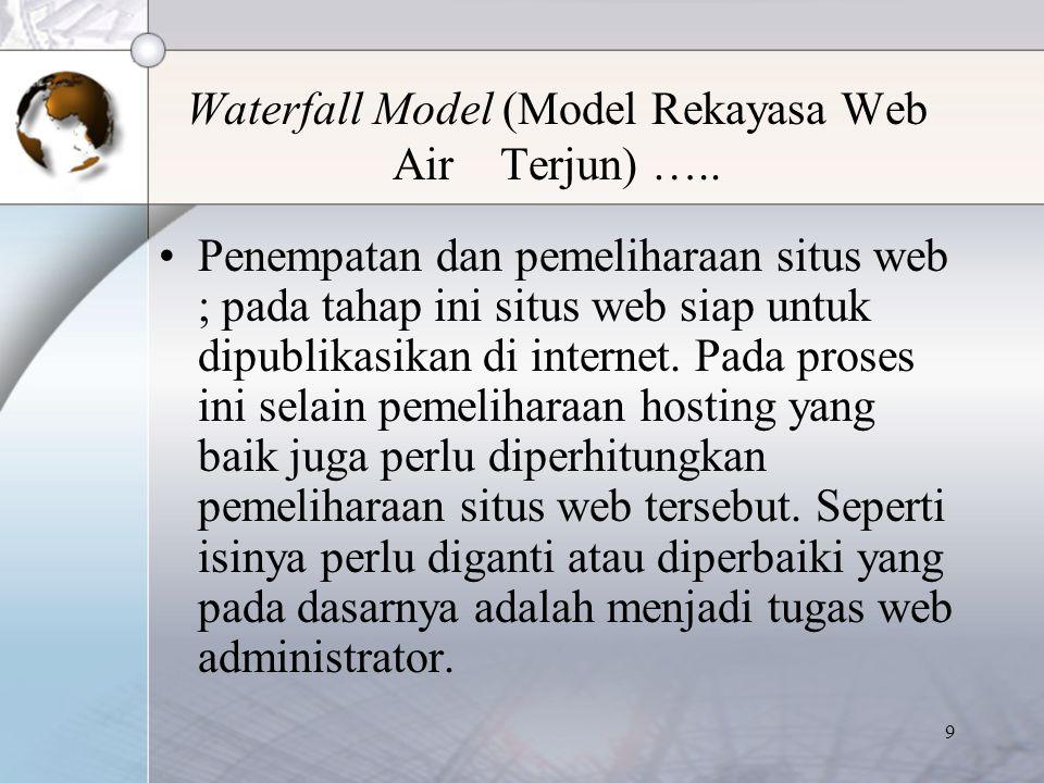 10 Modified Waterfall Model (Variasi Rekayasa Web variasi Model Air Terjun) Pada dasarnya metode ini adalah pengyempurnaan dari metode air terjun (waterfall mode).