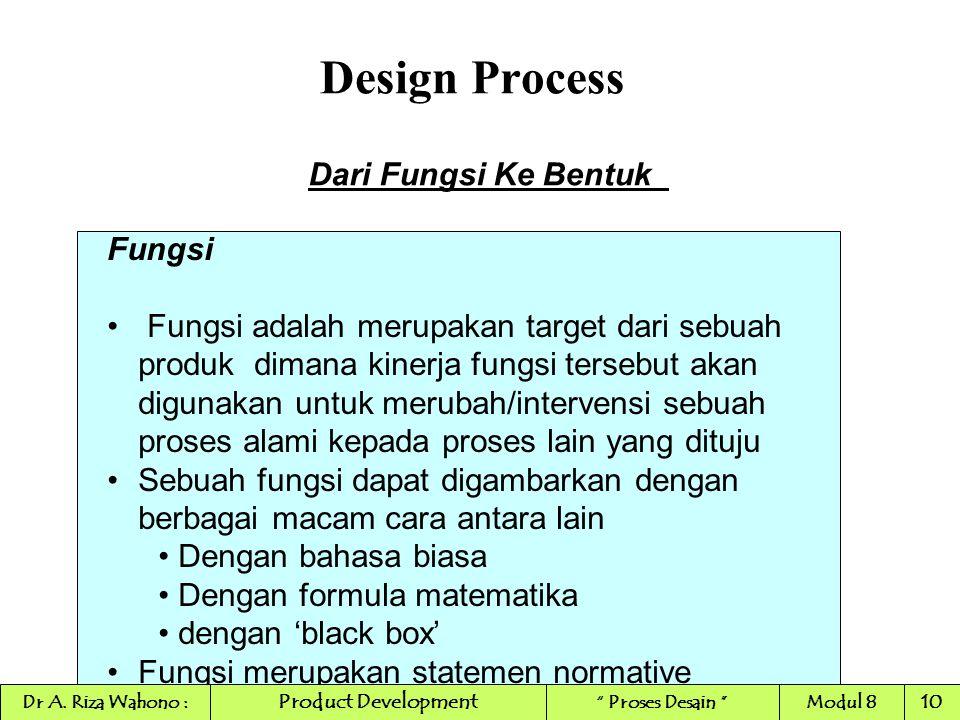 Design Process Dari Fungsi Ke Bentuk Fungsi Fungsi adalah merupakan target dari sebuah produk dimana kinerja fungsi tersebut akan digunakan untuk meru