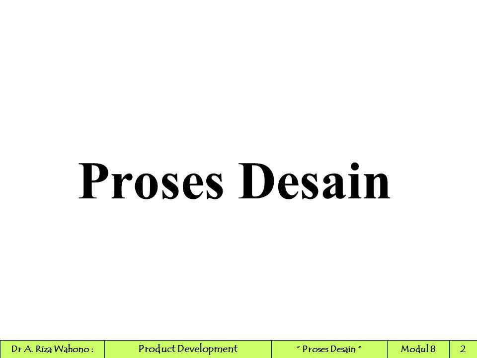 "Proses Desain Product Development Dr A. Riza Wahono :"" Proses Desain ""Modul 82"