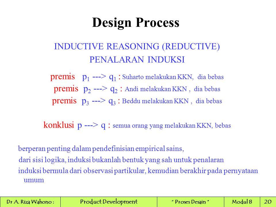 Design Process INDUCTIVE REASONING (REDUCTIVE) PENALARAN INDUKSI premis p 1 ---> q 1 : Suharto melakukan KKN, dia bebas premis p 2 ---> q 2 : Andi mel
