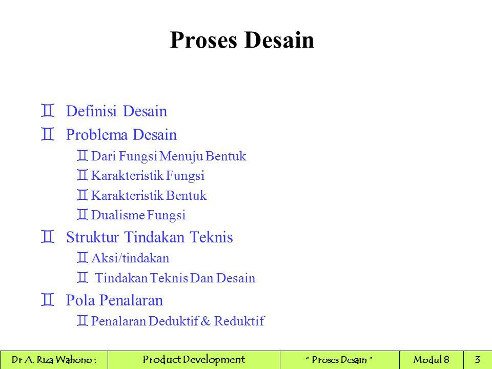 Proses Desain `Definisi Desain `Problema Desain `Dari Fungsi Menuju Bentuk `Karakteristik Fungsi `Karakteristik Bentuk `Dualisme Fungsi `Struktur Tind