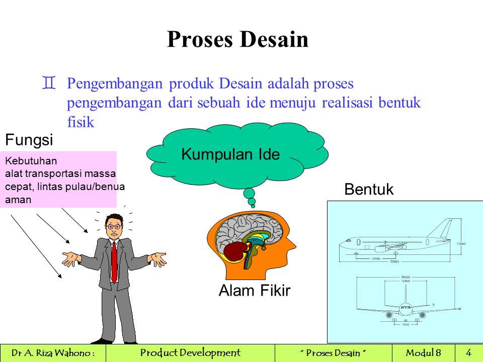 Proses Desain `Pengembangan produk Desain adalah proses pengembangan dari sebuah ide menuju realisasi bentuk fisik Kumpulan Ide Alam Fikir Kebutuhan a