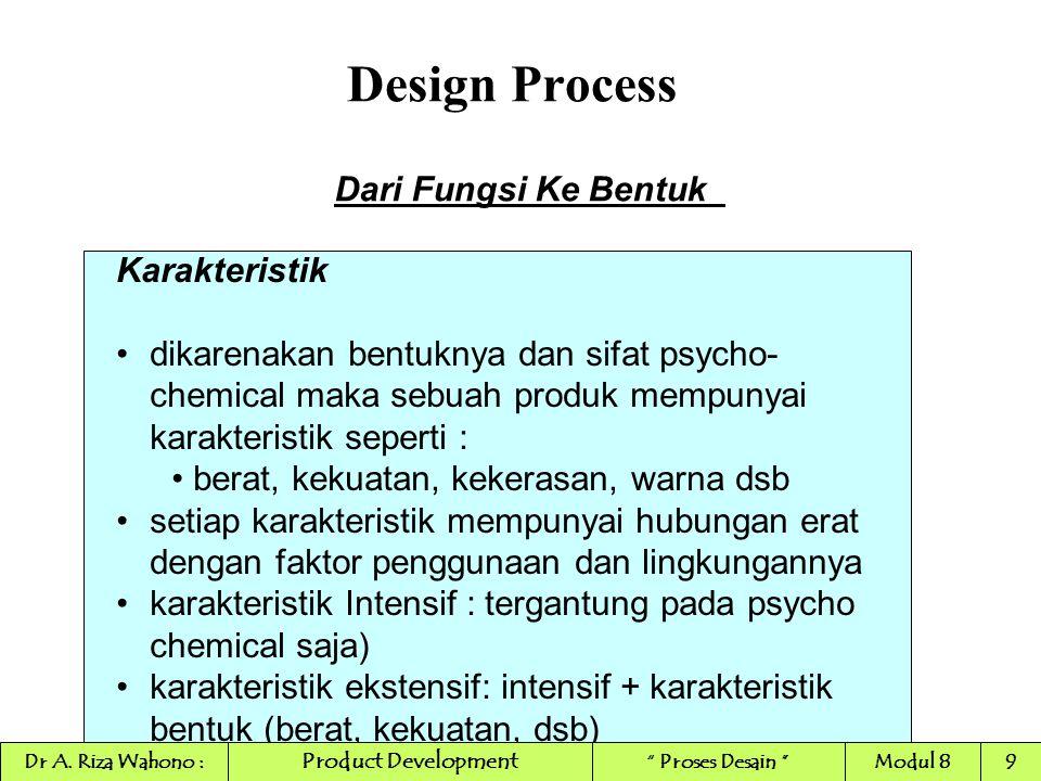 Design Process INDUCTIVE REASONING (REDUCTIVE) PENALARAN INDUKSI premis p 1 ---> q 1 : Suharto melakukan KKN, dia bebas premis p 2 ---> q 2 : Andi melakukan KKN, dia bebas premis p 3 ---> q 3 : Beddu melakukan KKN, dia bebas konklusi p ---> q : semua orang yang melakukan KKN, bebas berperan penting dalam pendefinisian empirical sains, dari sisi logika, induksi bukanlah bentuk yang sah untuk penalaran induksi bermula dari observasi partikular, kemudian berakhir pada pernyataan umum Product Development Dr A.