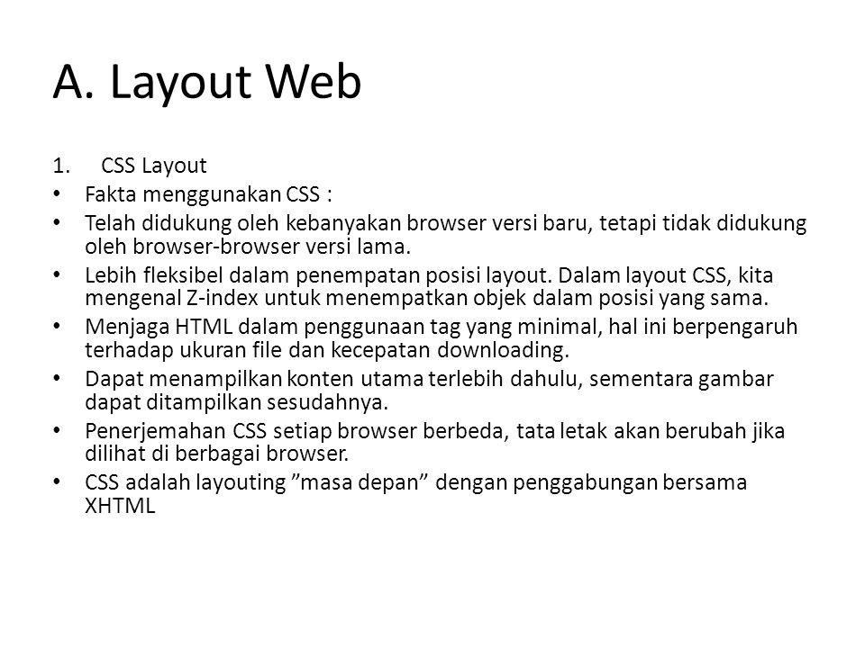 A. Layout Web 1.CSS Layout Fakta menggunakan CSS : Telah didukung oleh kebanyakan browser versi baru, tetapi tidak didukung oleh browser-browser versi