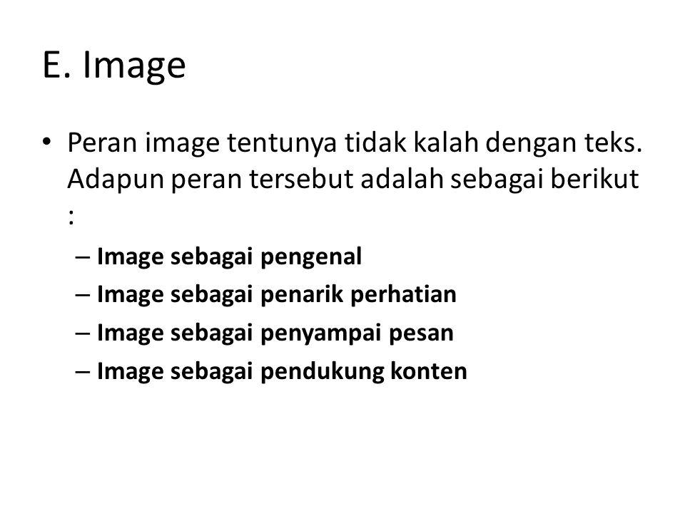 E. Image Peran image tentunya tidak kalah dengan teks. Adapun peran tersebut adalah sebagai berikut : – Image sebagai pengenal – Image sebagai penarik
