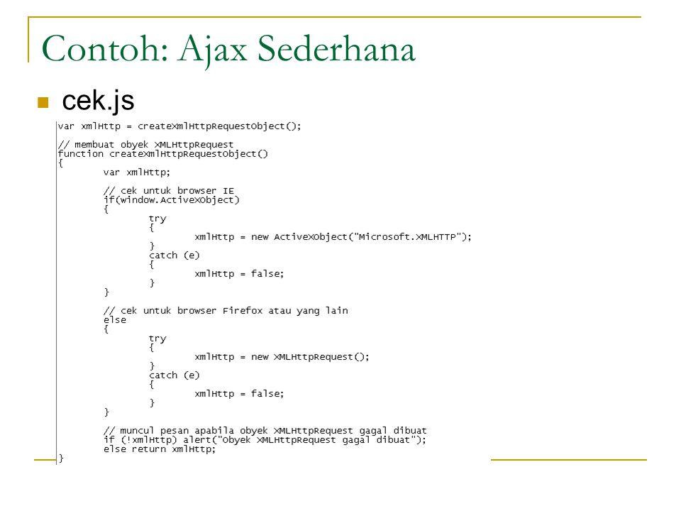 Contoh: Ajax Sederhana cek.js