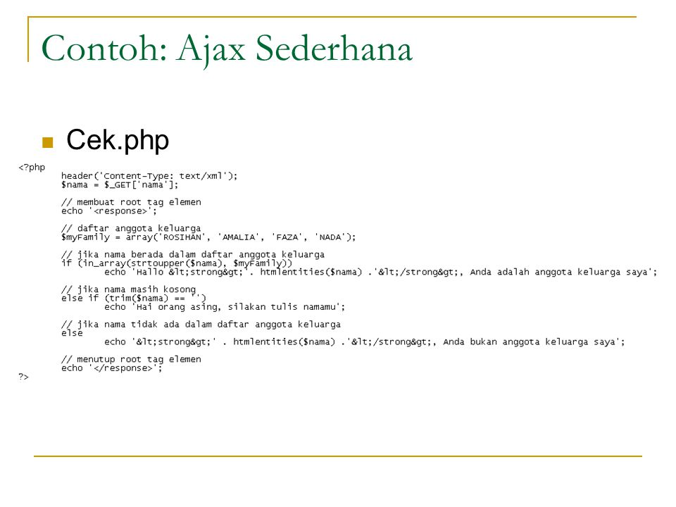 Contoh: Ajax Sederhana Cek.php