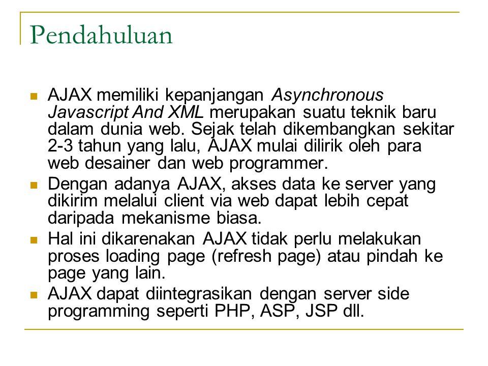 Pendahuluan AJAX memiliki kepanjangan Asynchronous Javascript And XML merupakan suatu teknik baru dalam dunia web. Sejak telah dikembangkan sekitar 2-