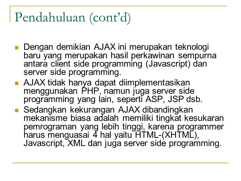 Dengan demikian AJAX ini merupakan teknologi baru yang merupakan hasil perkawinan sempurna antara client side programming (Javascript) dan server side