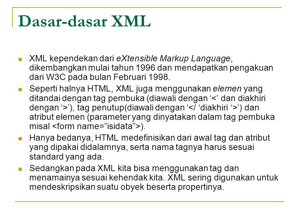Dasar-dasar XML XML kependekan dari eXtensible Markup Language, dikembangkan mulai tahun 1996 dan mendapatkan pengakuan dari W3C pada bulan Februari 1