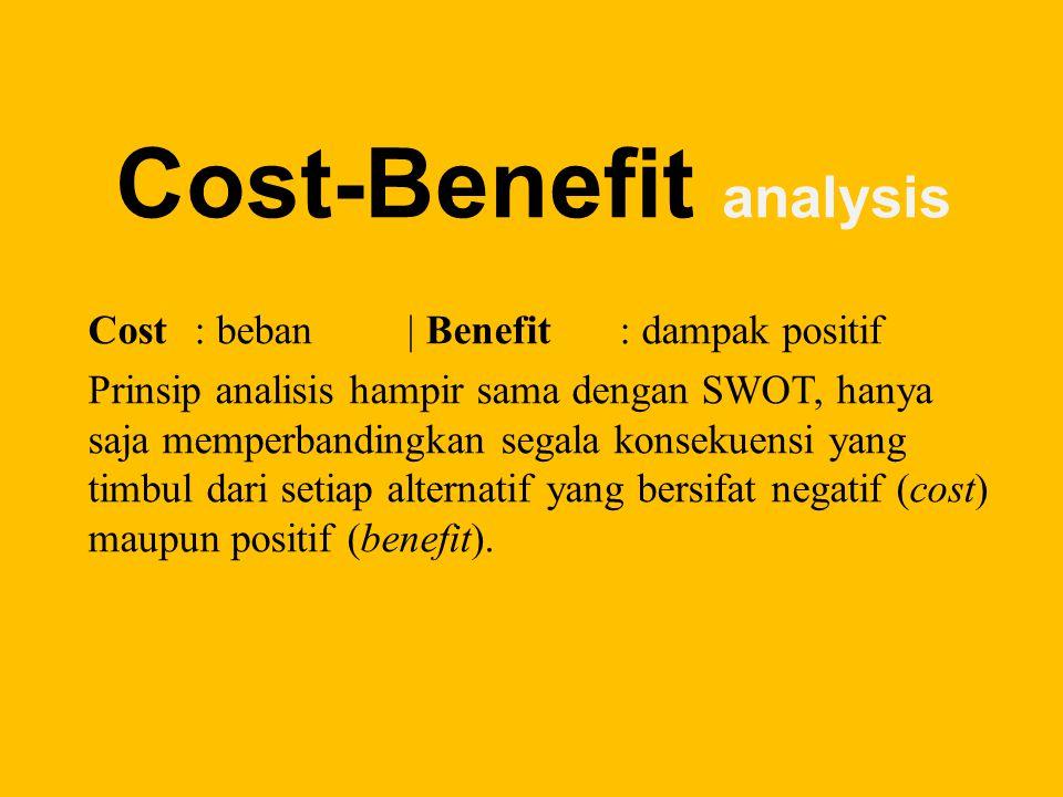 Cost-Benefit analysis Cost: beban| Benefit: dampak positif Prinsip analisis hampir sama dengan SWOT, hanya saja memperbandingkan segala konsekuensi yang timbul dari setiap alternatif yang bersifat negatif (cost) maupun positif (benefit).