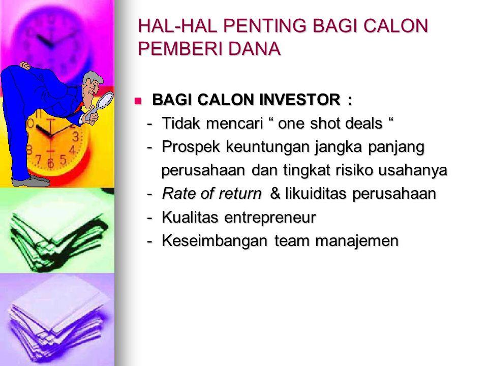 """HAL-HAL PENTING BAGI CALON PEMBERI DANA BAGI CALON INVESTOR : BAGI CALON INVESTOR : - Tidak mencari """" one shot deals """" - Tidak mencari """" one shot deal"""