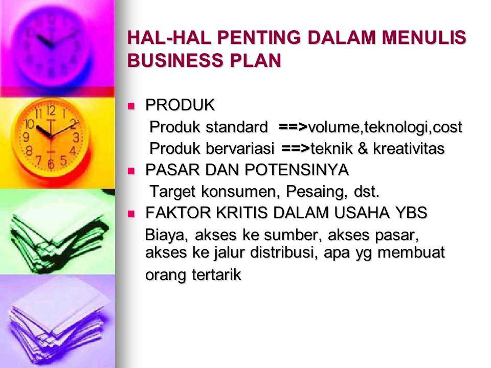 HAL-HAL PENTING DALAM MENULIS BUSINESS PLAN PRODUK PRODUK Produk standard ==>volume,teknologi,cost Produk standard ==>volume,teknologi,cost Produk ber