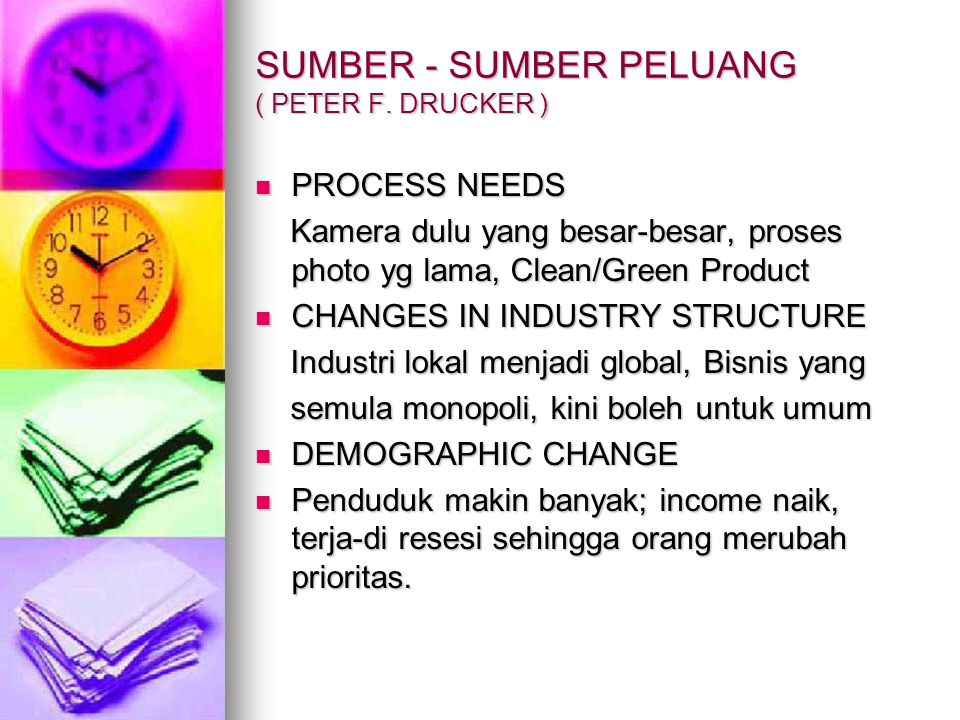 SUMBER - SUMBER PELUANG ( PETER F. DRUCKER ) PROCESS NEEDS PROCESS NEEDS Kamera dulu yang besar-besar, proses photo yg lama, Clean/Green Product Kamer