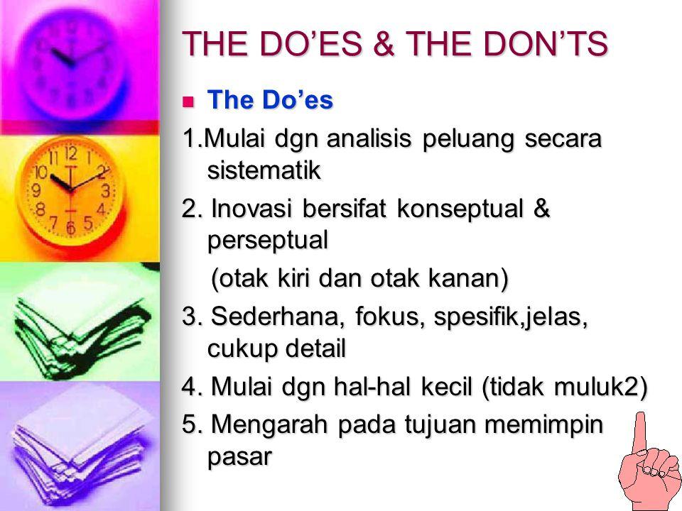 THE DO'ES & THE DON'TS The Do'es The Do'es 1.Mulai dgn analisis peluang secara sistematik 2. Inovasi bersifat konseptual & perseptual (otak kiri dan o