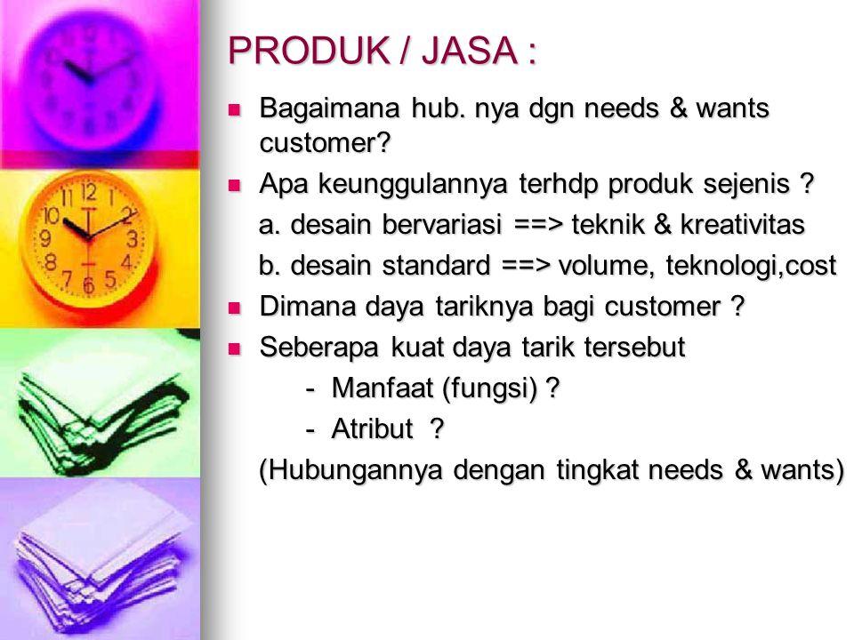 PRODUK / JASA : Bagaimana hub. nya dgn needs & wants customer? Bagaimana hub. nya dgn needs & wants customer? Apa keunggulannya terhdp produk sejenis