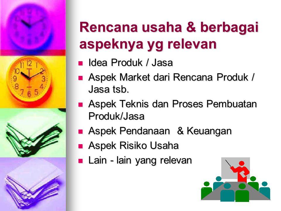 Rencana usaha & berbagai aspeknya yg relevan Idea Produk / Jasa Idea Produk / Jasa Aspek Market dari Rencana Produk / Jasa tsb. Aspek Market dari Renc