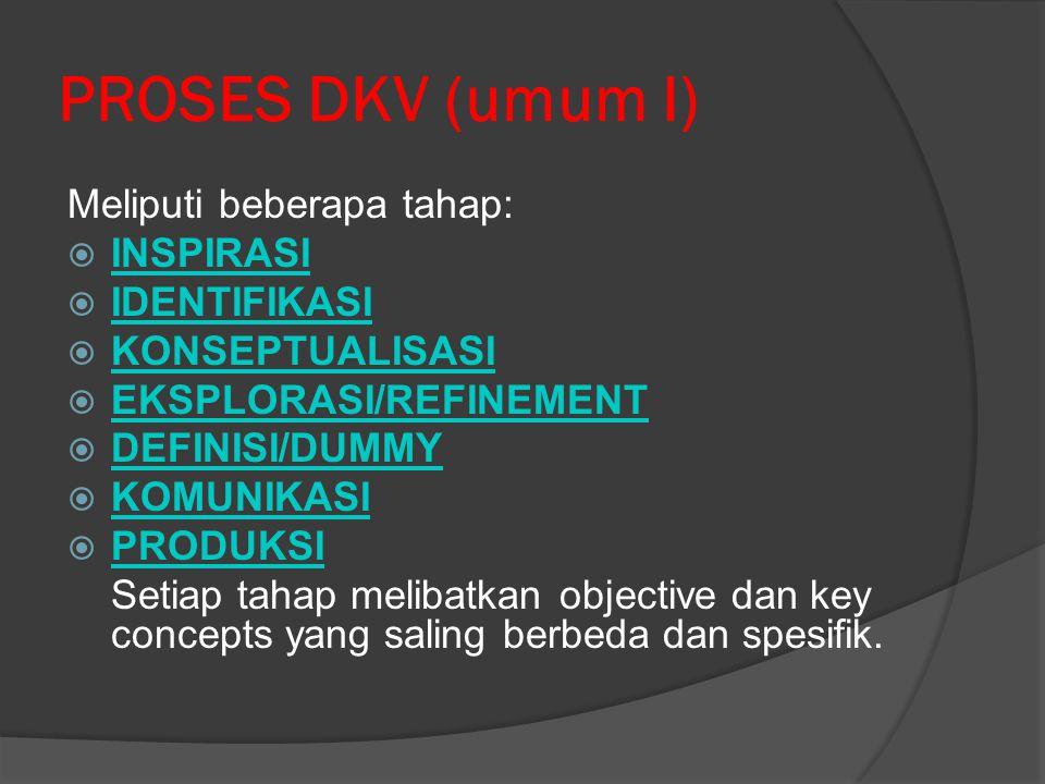 PROSES DKV (umum I) Meliputi beberapa tahap:  INSPIRASI INSPIRASI  IDENTIFIKASI IDENTIFIKASI  KONSEPTUALISASI KONSEPTUALISASI  EKSPLORASI/REFINEME