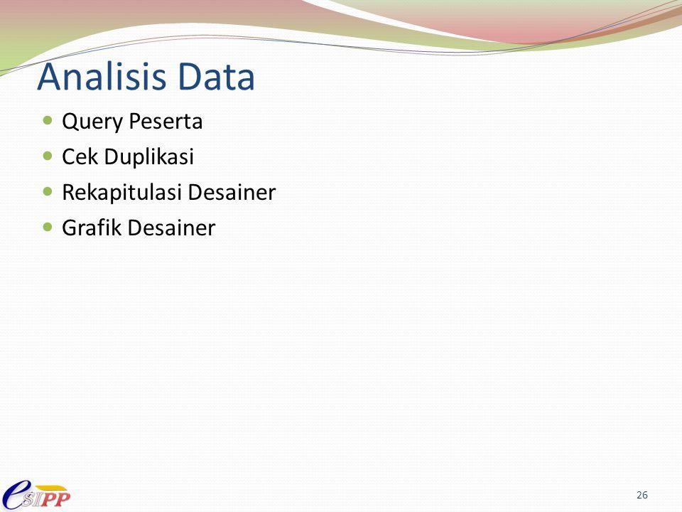 Analisis Data Query Peserta Cek Duplikasi Rekapitulasi Desainer Grafik Desainer 26