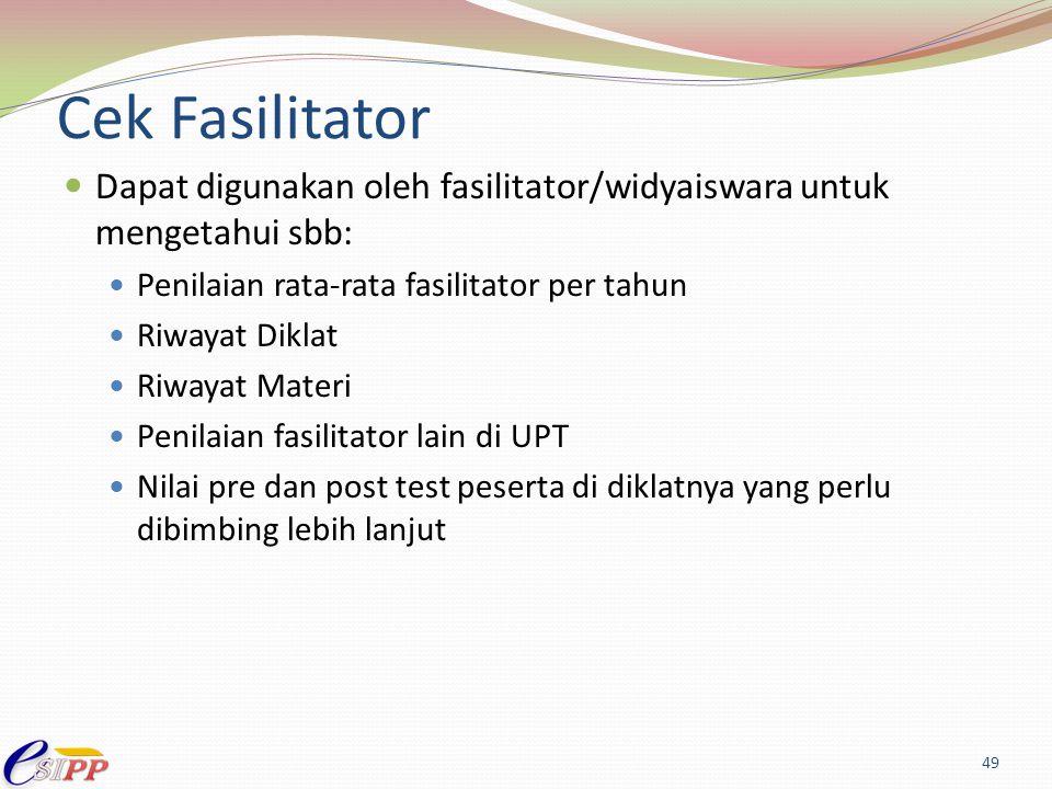 Cek Fasilitator Dapat digunakan oleh fasilitator/widyaiswara untuk mengetahui sbb: Penilaian rata-rata fasilitator per tahun Riwayat Diklat Riwayat Ma