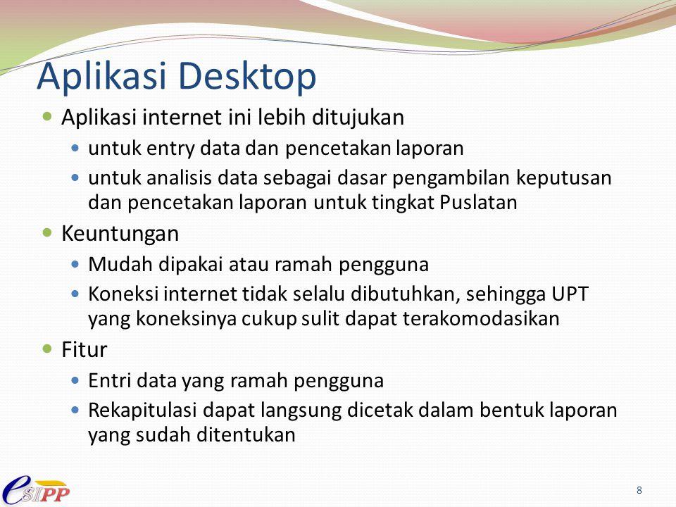 Aplikasi Desktop Aplikasi internet ini lebih ditujukan untuk entry data dan pencetakan laporan untuk analisis data sebagai dasar pengambilan keputusan