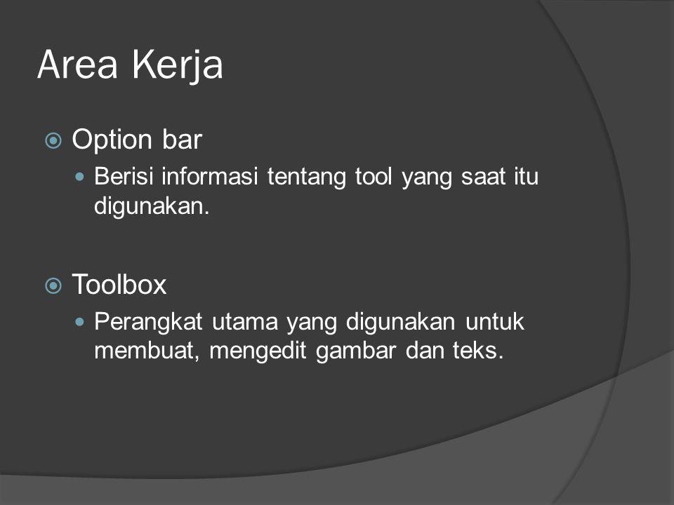 Area Kerja  Option bar Berisi informasi tentang tool yang saat itu digunakan.  Toolbox Perangkat utama yang digunakan untuk membuat, mengedit gambar