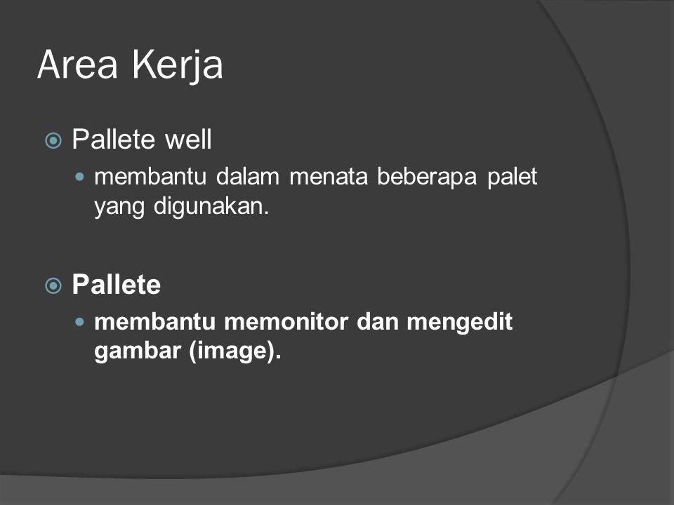 Area Kerja  Pallete well membantu dalam menata beberapa palet yang digunakan.  Pallete membantu memonitor dan mengedit gambar (image).